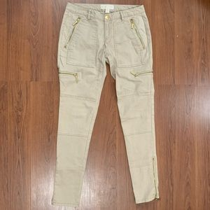 Micheal Kors Tan Cargo Pants with Gold Zippers
